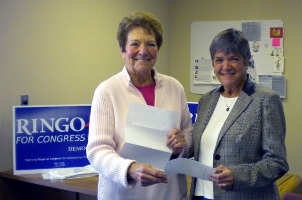 IDWC Chair, Barb Harris, presents check to Shirley Ringo-candidate for US Congress 1st District.