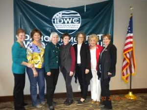 newly elected Officers and Representatives (left to right) Barb Harris, IDW Chair Gini Ballou IDWC Vice Chair Donna Pence State Representative for Dist.26 Janie Davidson Blaine County Central Committee Chair Bev Robinson IDWC Secretary Betty Murphy IDWC Regional Director 5 Elaine Smith State Representative for Dist.29 Not shown Newly elected Hannah Sharp IDWC Regional Director 4 Linda Leeuwrik IDWC Regional Director 6